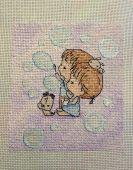 Схема для вышивки крестом Нежные иллюстрации - Мыльные пузыри. Отшив