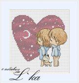 Схема для вышивки крестом Нежные иллюстрации - Сердечко