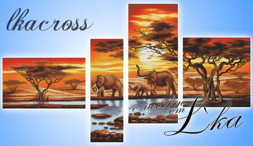 Схема для вышивки крестом Слоны У Ручья
