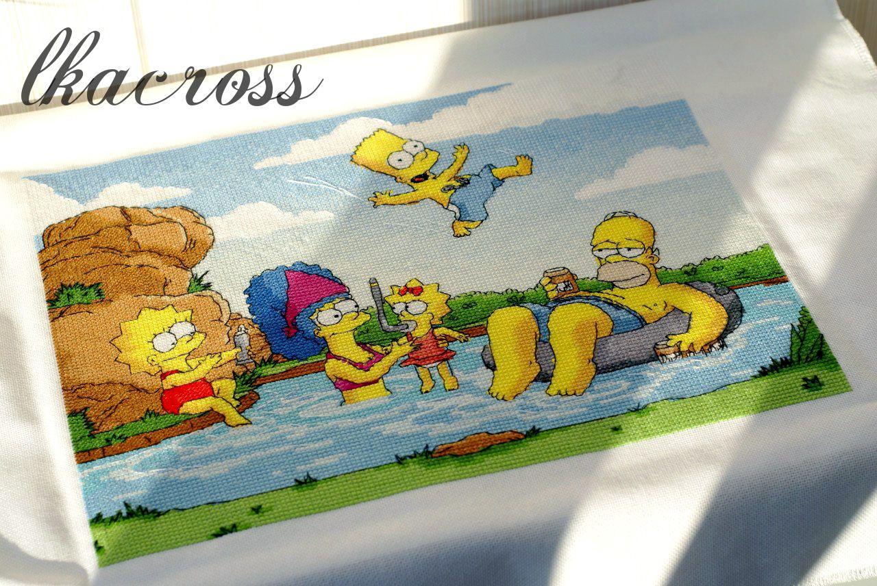 Схема вышивки Симпсоны. Отшив.