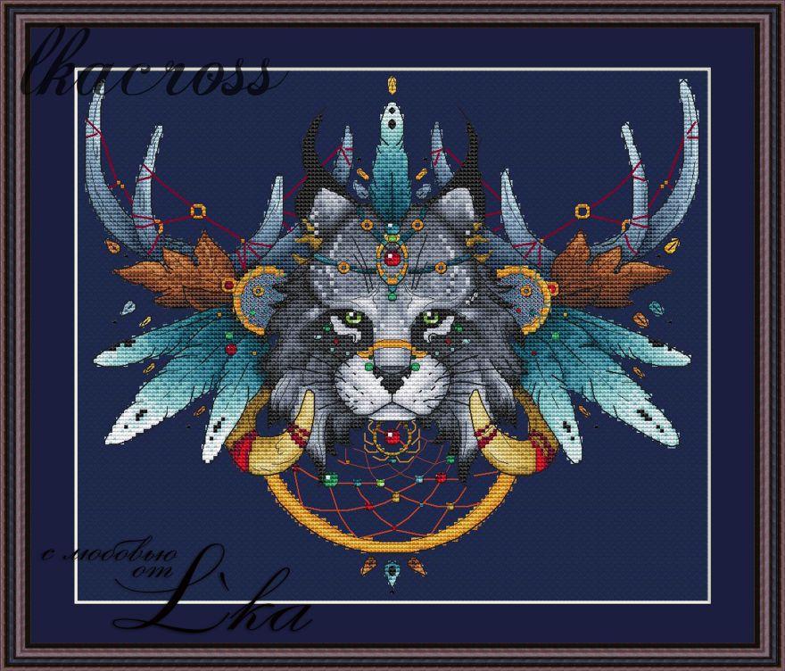 Схема для вышивки крестом Ловец снов - Рысь