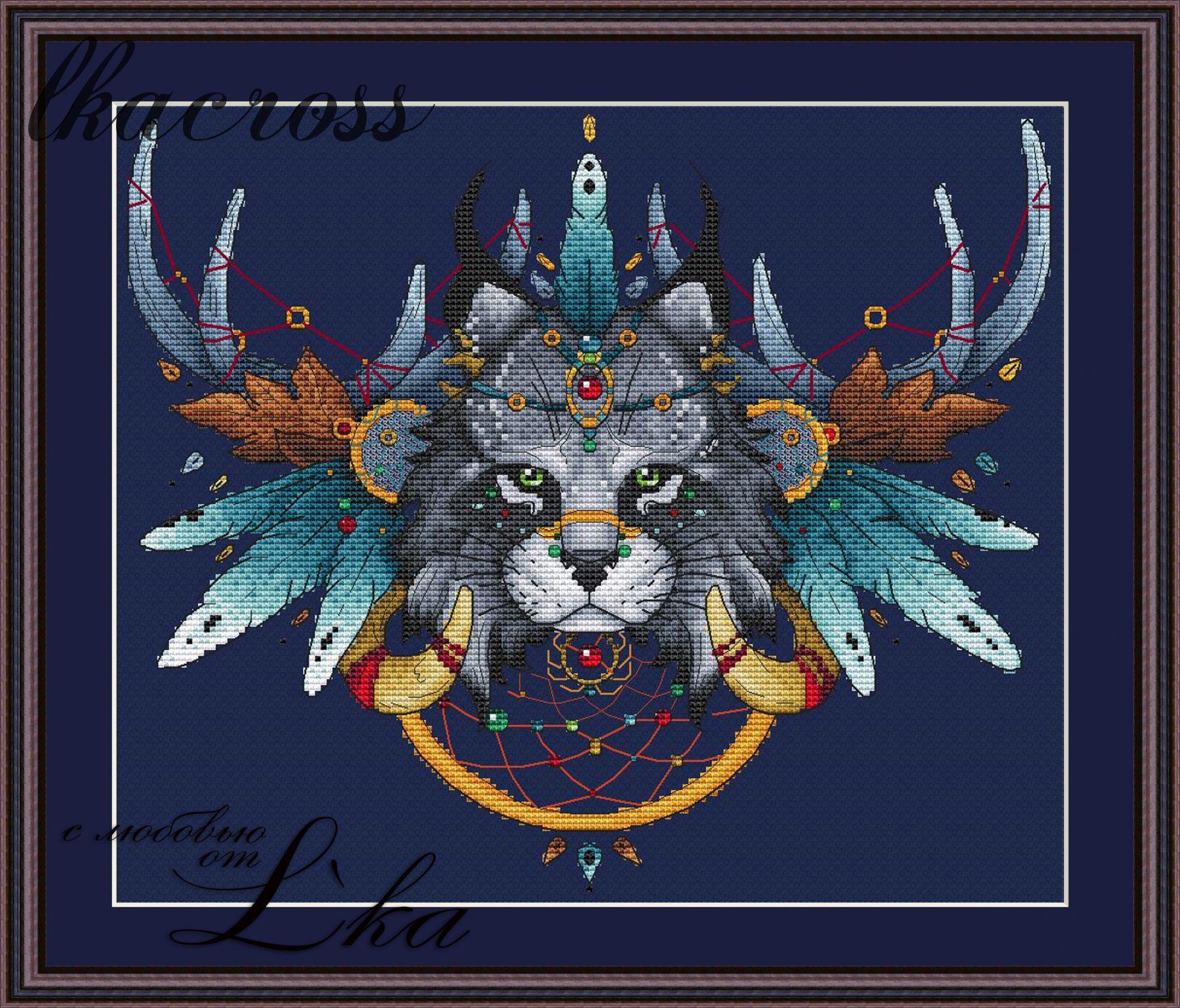 Схема вышивки Ловец снов - Рысь.