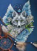Схема для вышивки крестом Ловец снов - Волк1. Отшив
