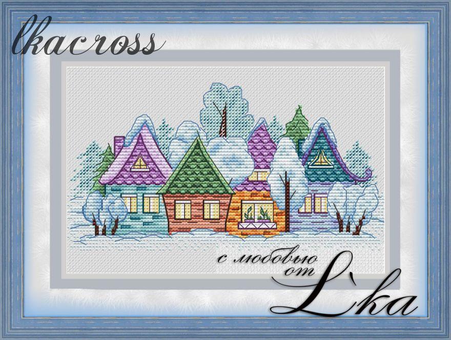 Схема для вышивки крестом Деревенька