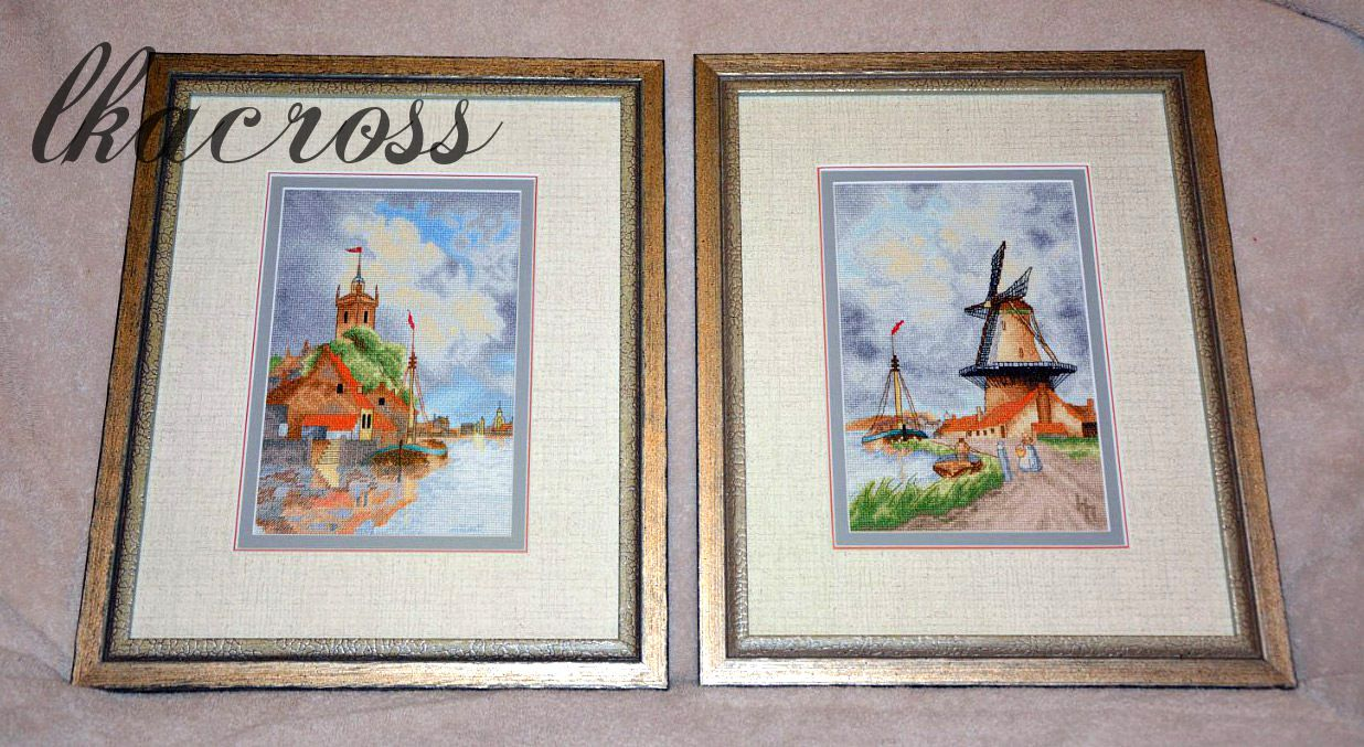 Схемы для вышивки крестом Голландская гавань и Ветряная мельница. Отшивы.