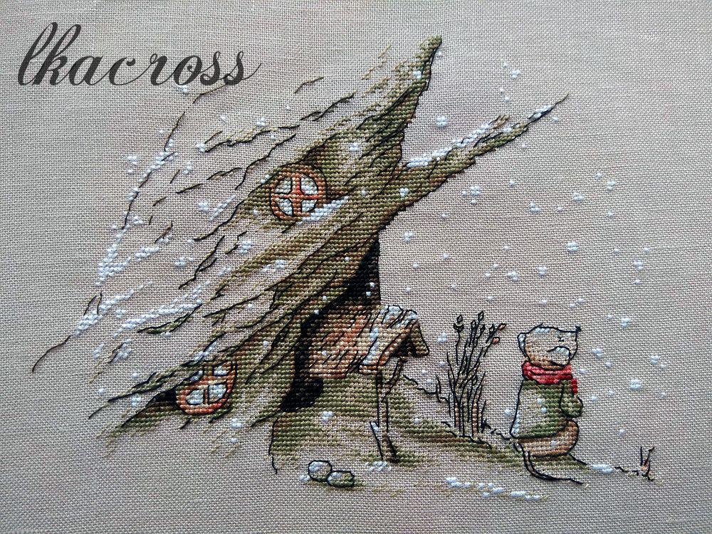 Схема для вышивки крестом Первый снег. Отшив.